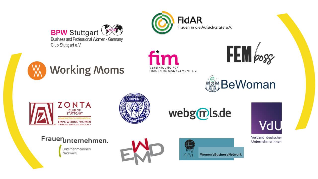 Logos der Netzwerke im Forum Frauennetzwerke Region Stuttgart